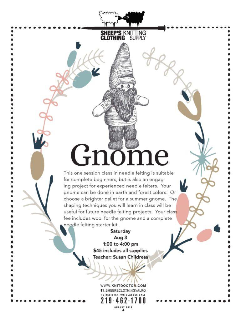 gnome Knit classes 219-462-1700