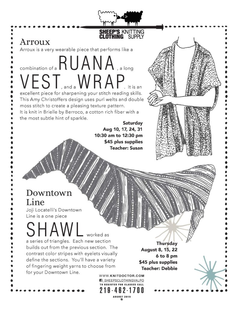 wrap or shawl Knit classes 219-462-1700
