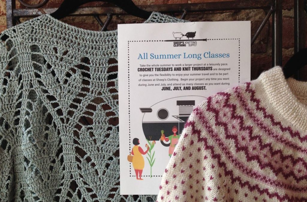 All Summer Long…Crochet Tuesdays and Knit Thursdays!